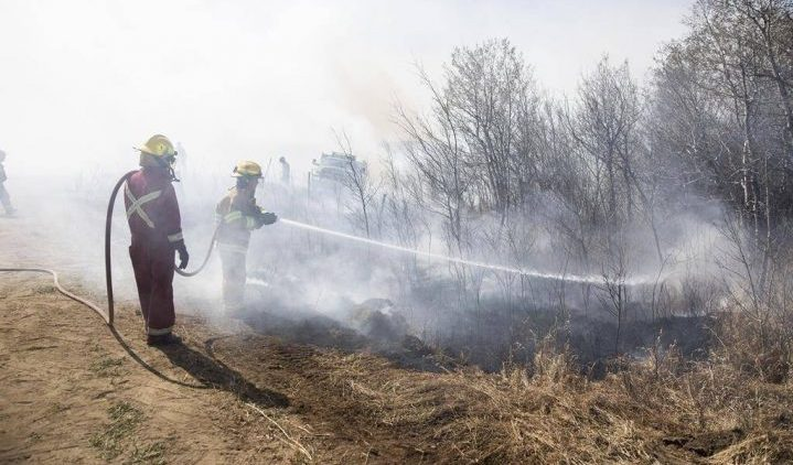 Fire crews use back burning to control a wildfire near Biggar, Sask., on April 23, 2019.
