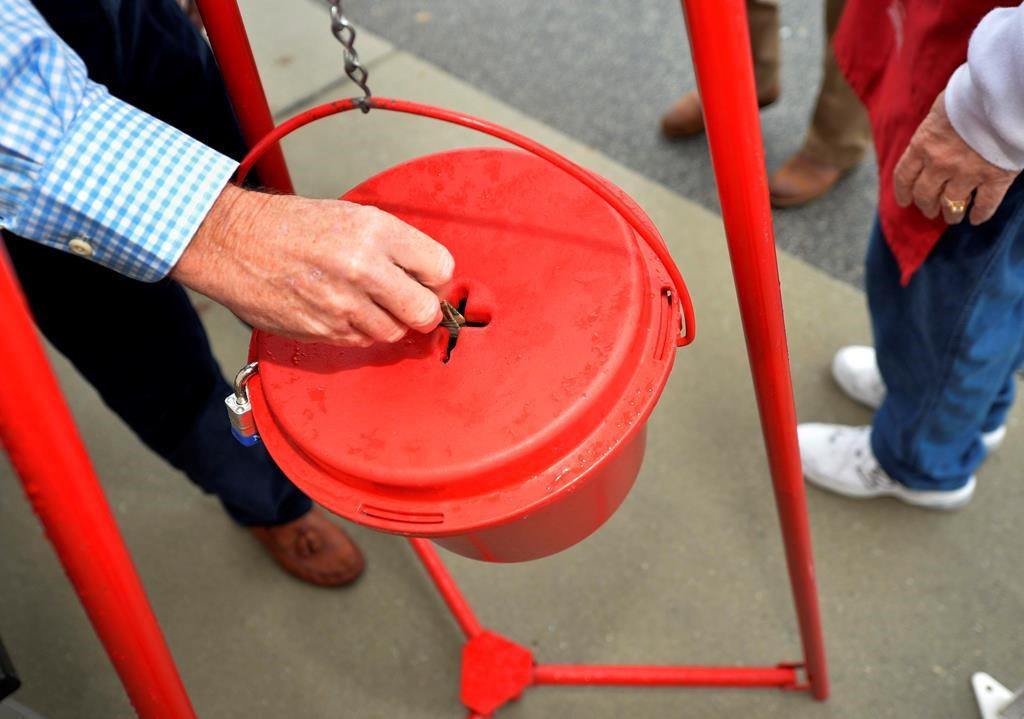 Money gets dropped into a Salvation Army kettle in this file photo.