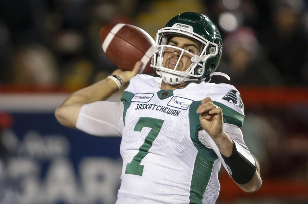 Saskatchewan Roughriders quarterback Cody Fajardo throws the ball during second half CFL football action against the Calgary Stampeders in Calgary, Friday, Oct. 11, 2019.