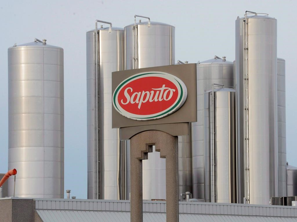 A sign at a Montreal Saputo plant is shown on Jan.13, 2014.