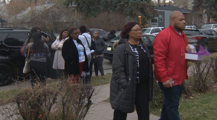 People gathered Saturday, Nov. 2 to pay tribute to Deborah Onwu, a case worker who was killed in Calgary on Oct. 25.