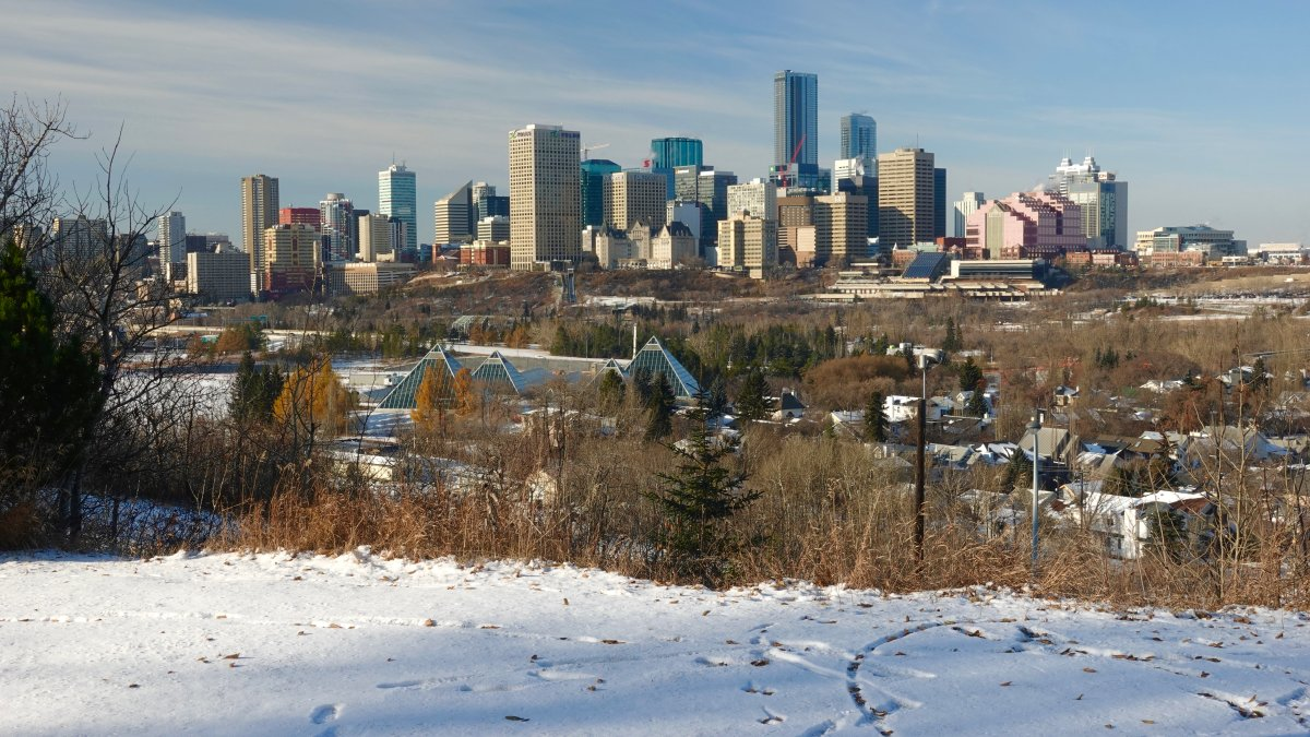 Looking across the North Saskatchewan River at the Muttart Conservatory and downtown Edmonton, Alta. November 20, 2019.