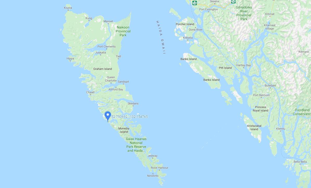 The location of a 4.6-magnitude earthquake off the coast of Haida Gwaii on Nov. 9, 2019.