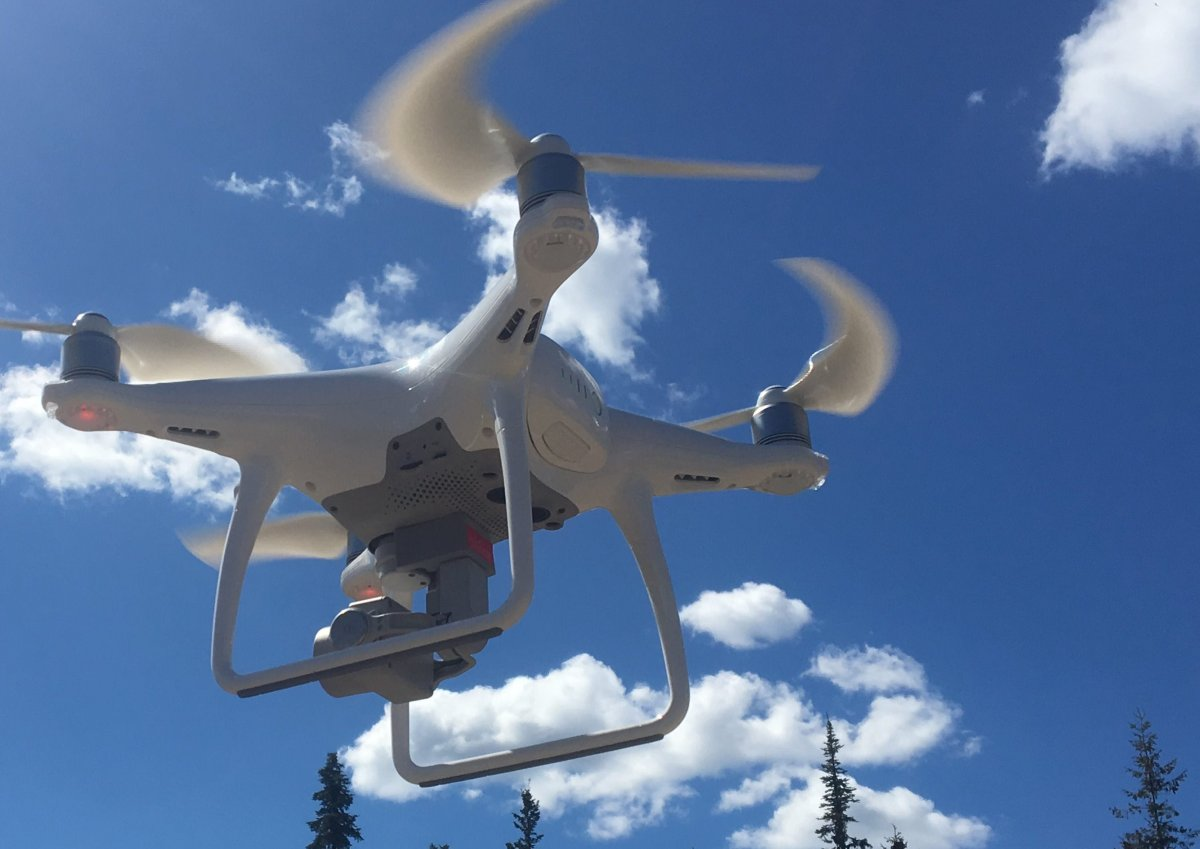 A B.C. Conservation Officer Service drone was used to nab a suspect accused of crashing into police vehicles and fleeing officers in Terrace, B.C. on Nov. 29, 2019.