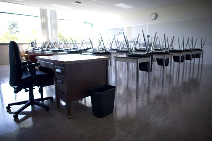 A file photo of an empty classroom.
