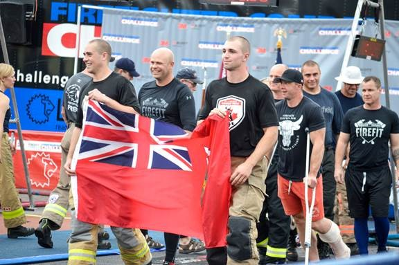 Fleming College's fire combat team at the world firefighter combat challenge in Alabama.