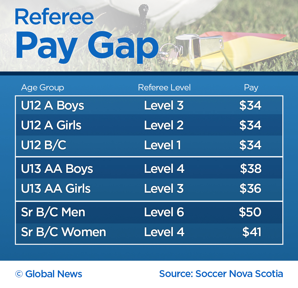 Soccer referees are paid based on their training and the gender of the teams on the pitch in Nova Scotia.