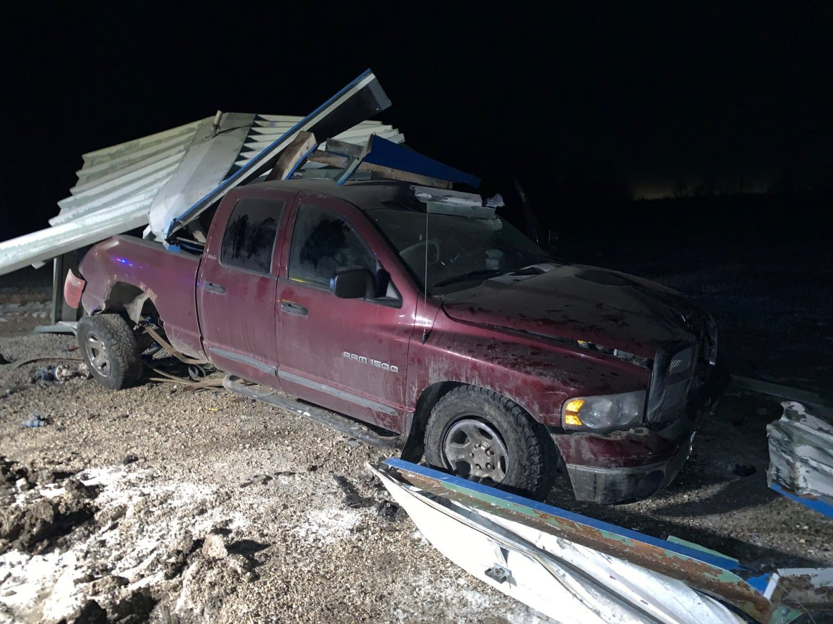 A pick-up truck hit a shed housing a natural gas distribution centre and caused a significant gas leak.