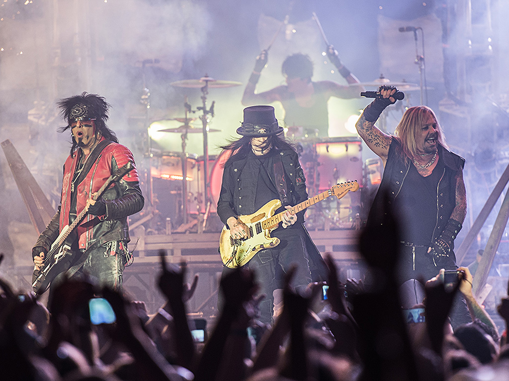Mötley Crüe, performs at the opening of the last concerts in Germany on the band's farewell tour 'The Final Tour' in the Hans Martin Schleyer Hall in Stuttgart, Germany, Nov. 8, 2015. In the front stand (L-R) Nikki Sixx, Mick Mars und Vince Neil.