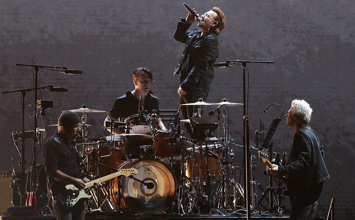 (L-R) The Edge, Larry Mullen, Bono, and Adam Clayton of U2 perform at the SCG on Nov. 22, 2019 in Sydney, Australia.