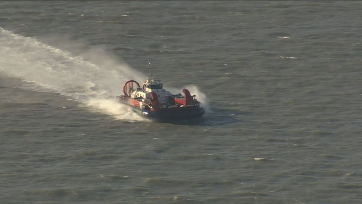 A Canadian Coast Guard hovercraft seen during a marine rescue in the Georgia Strait, Tuesday, Nov. 19.