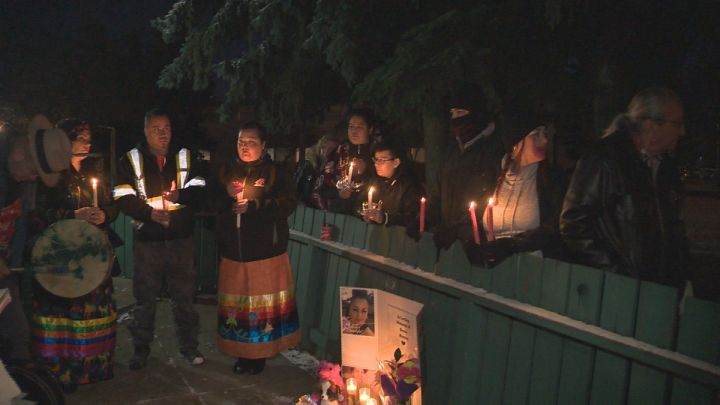 A mother of three from Saddle Lake Cree Nation, whose death is being investigated by police, was remembered as a fun, caring and humble woman at a vigil held on a street in west Edmonton on Wednesday night.