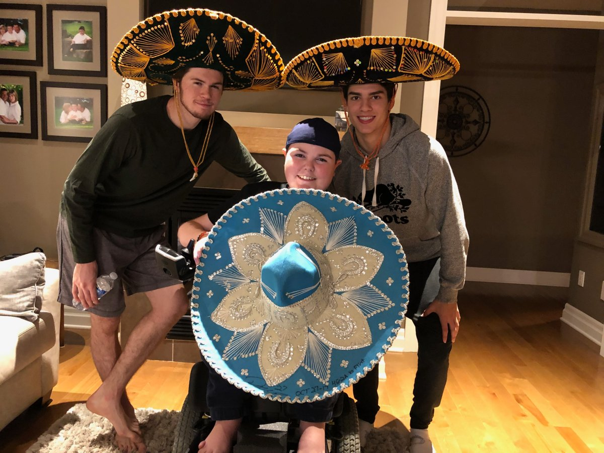 Having some fun with the sombreros Luke Evangelista and Connor McMichael received after scoring hat-tricks. Owen McGonigal is hold one that Robert Thomas received during his time with the Knights.