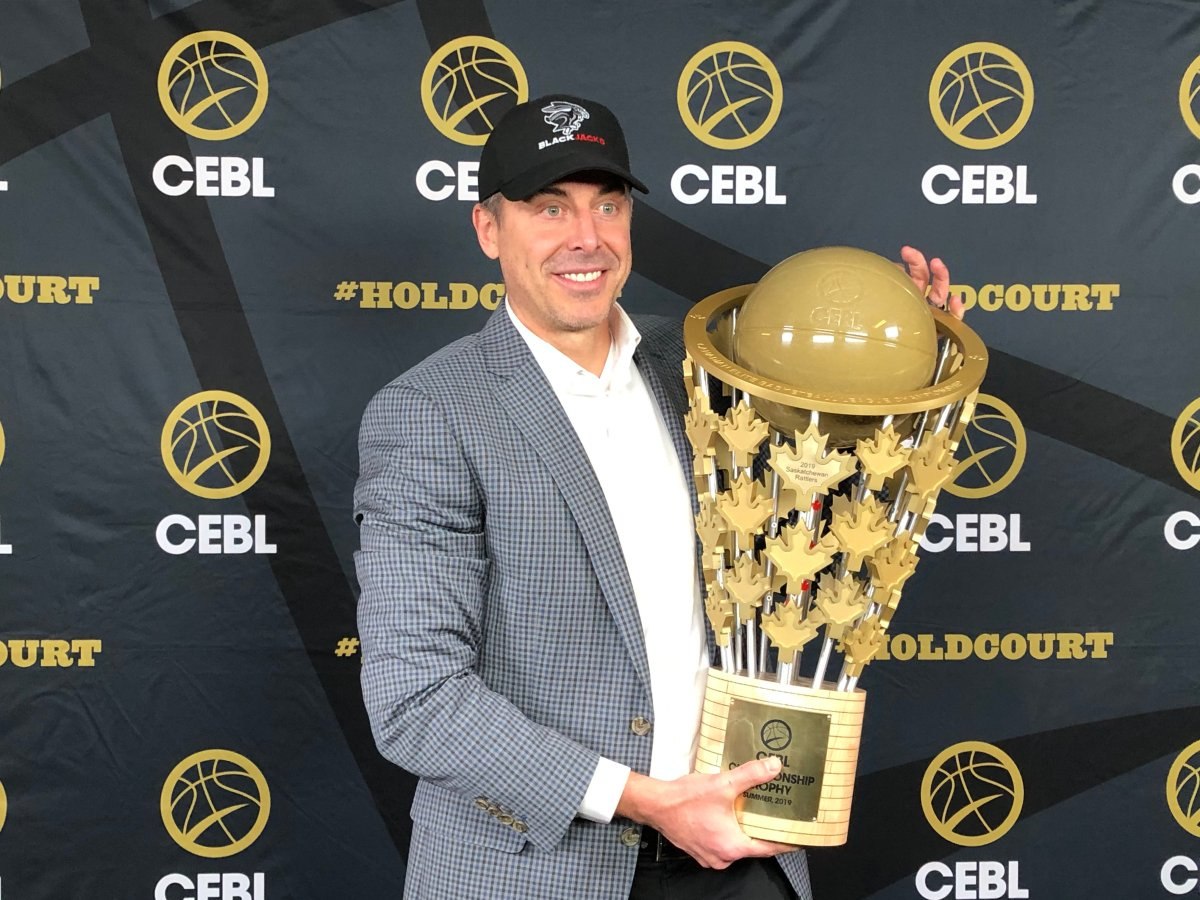CEBL CEO and Commissioner Mile Morreale holds the league's championship trophy during an announcement of the league's expansion into Ottawa on Thursday.