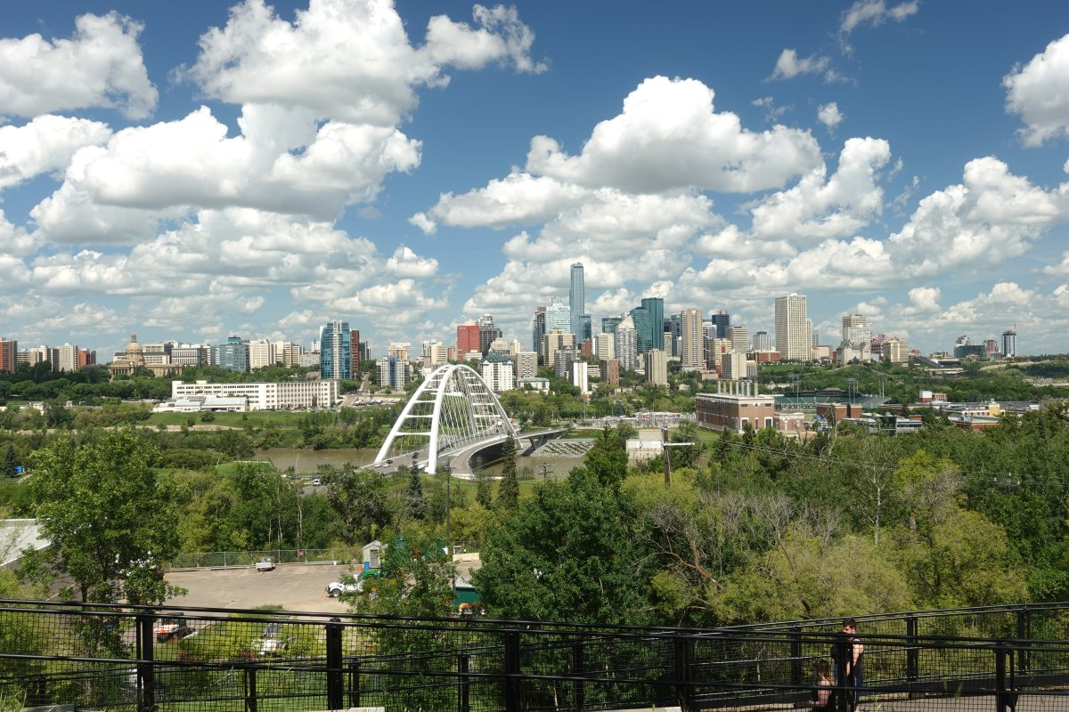 Looking across the North Saskatchewan River at downtown Edmonton, Alta. Summer 2019.