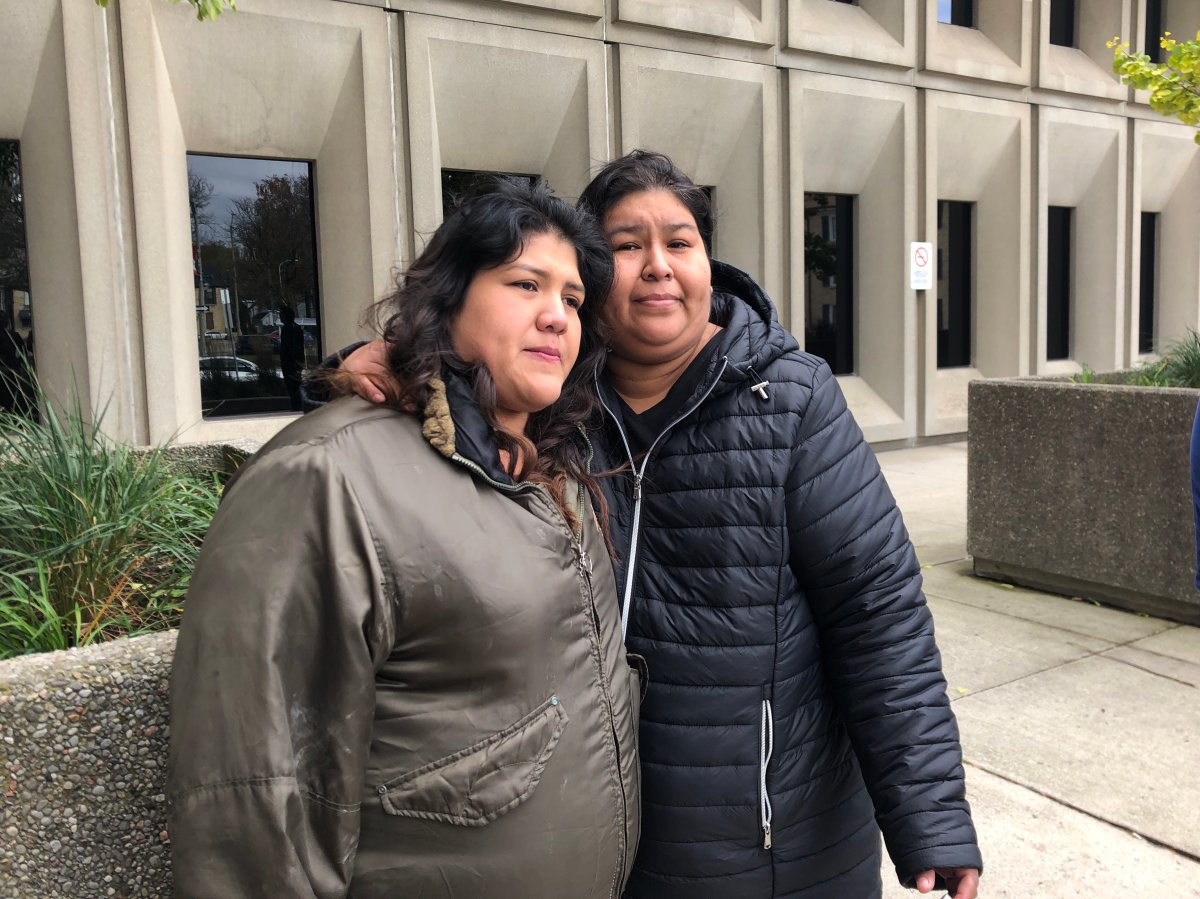 Debra Chrisjohn's sisters after the London police officer involved in Debra's death was found guilty. Left to Right Brittney and Cindy Chrisjohn.