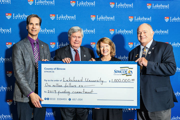 Pictured (from left) Dr. Dean Jobin-Bevans, Principal, Lakehead Orillia, Ross Murray Q.C., Chair, Lakehead University Board of Governors, Dr. Moira McPherson, Lakehead University President and Vice-Chancellor, and Warden George Cornell, County of Simcoe.