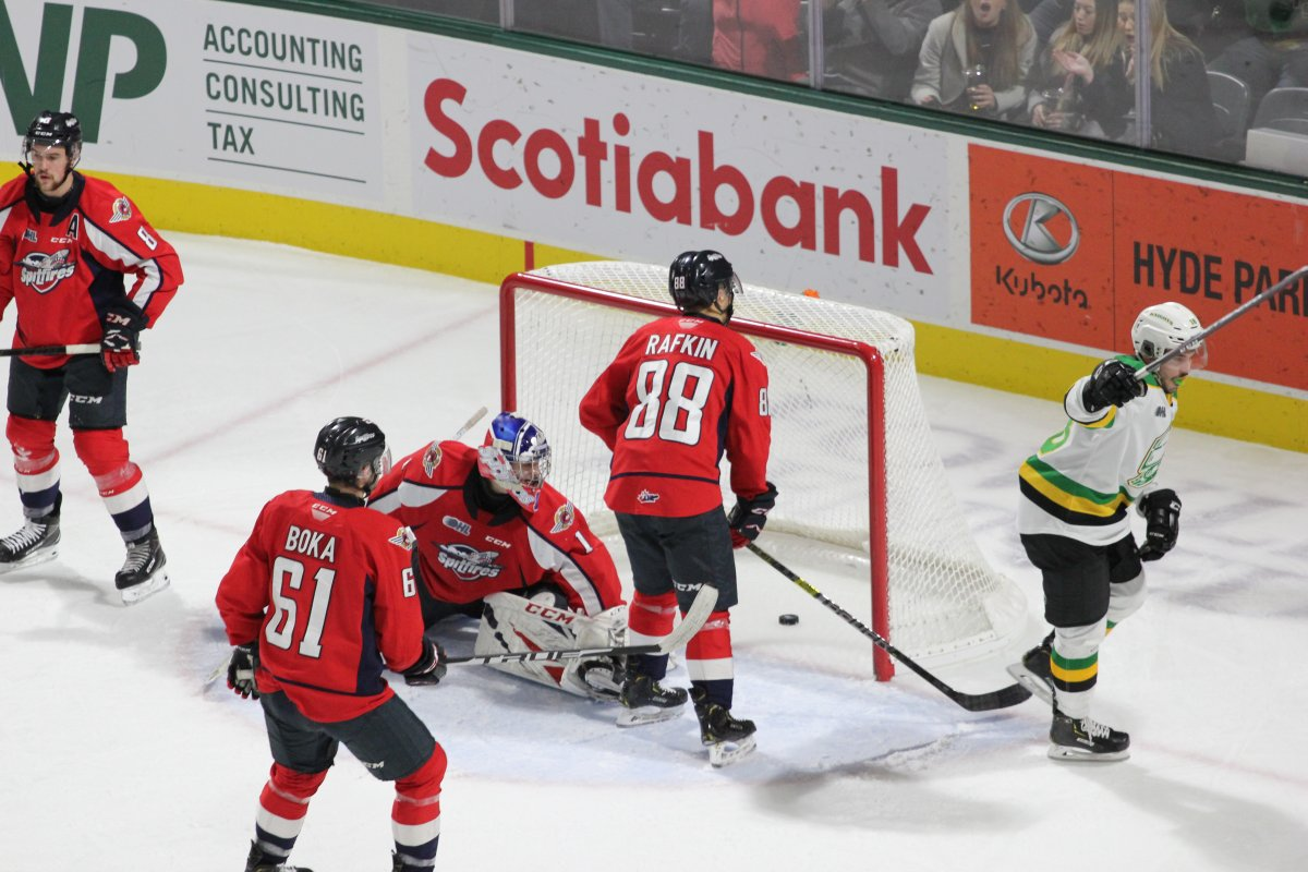 London, Ont., Liam Foudy of the London Knights celebrates a goal in a 6-3 London victory over the Windsor Spitfires on November 29, 2019.