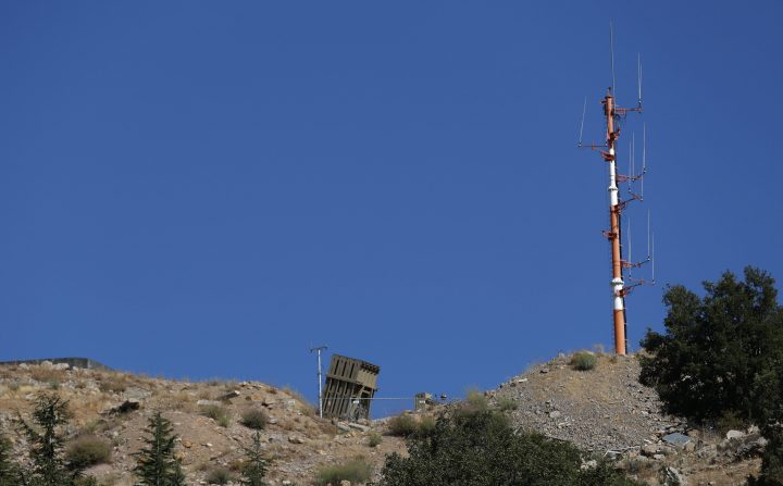 A general view shows an Israeli Iron Dome deployed near the Israeli-Syrian border, in the Golan Heights, north of Israel, 25 August 2019.