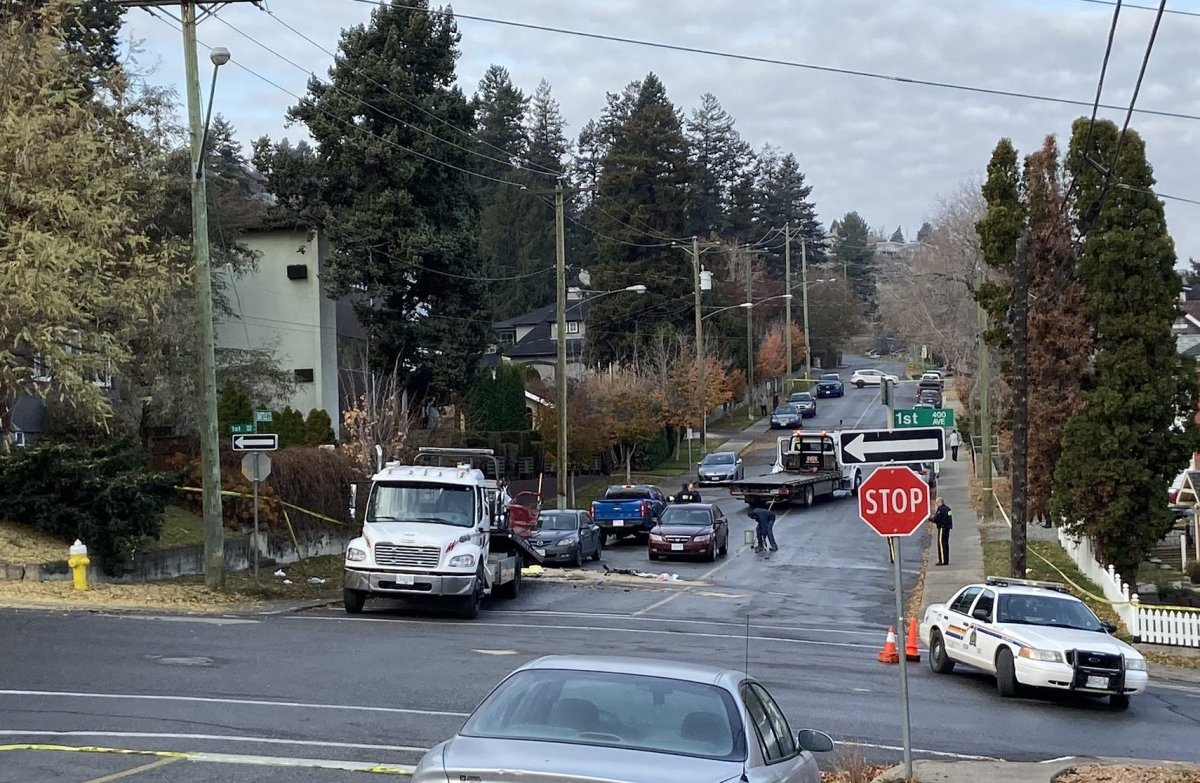 Police at the scene of a fatal hit-and-run in Kamloops on Nov. 3, 2019.