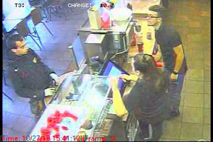 Laval Police are looking for the suspect (pictured left) in the alleged theft of donation cans missing from several Tim Hortons locations.