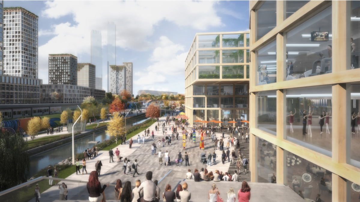 A rendering of the National Capital Commission's renewed vision for LeBreton Flats, a long-empty 24-hectare parcel of land just west of Parliament Hill in Ottawa.