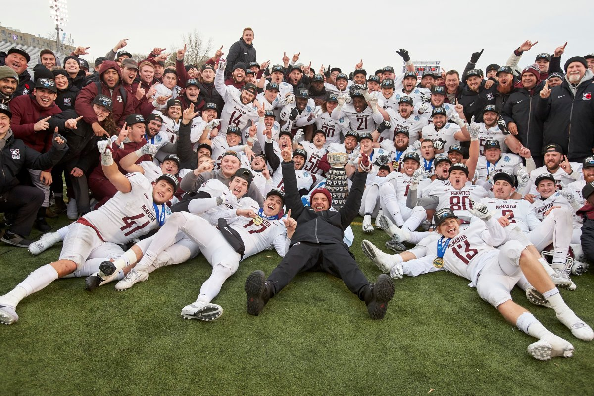The McMaster Marauders celebrate their victory over the Western Mustangs in the USports Yates Cup university football championship in London, Ont., Saturday, Nov. 9, 2019.