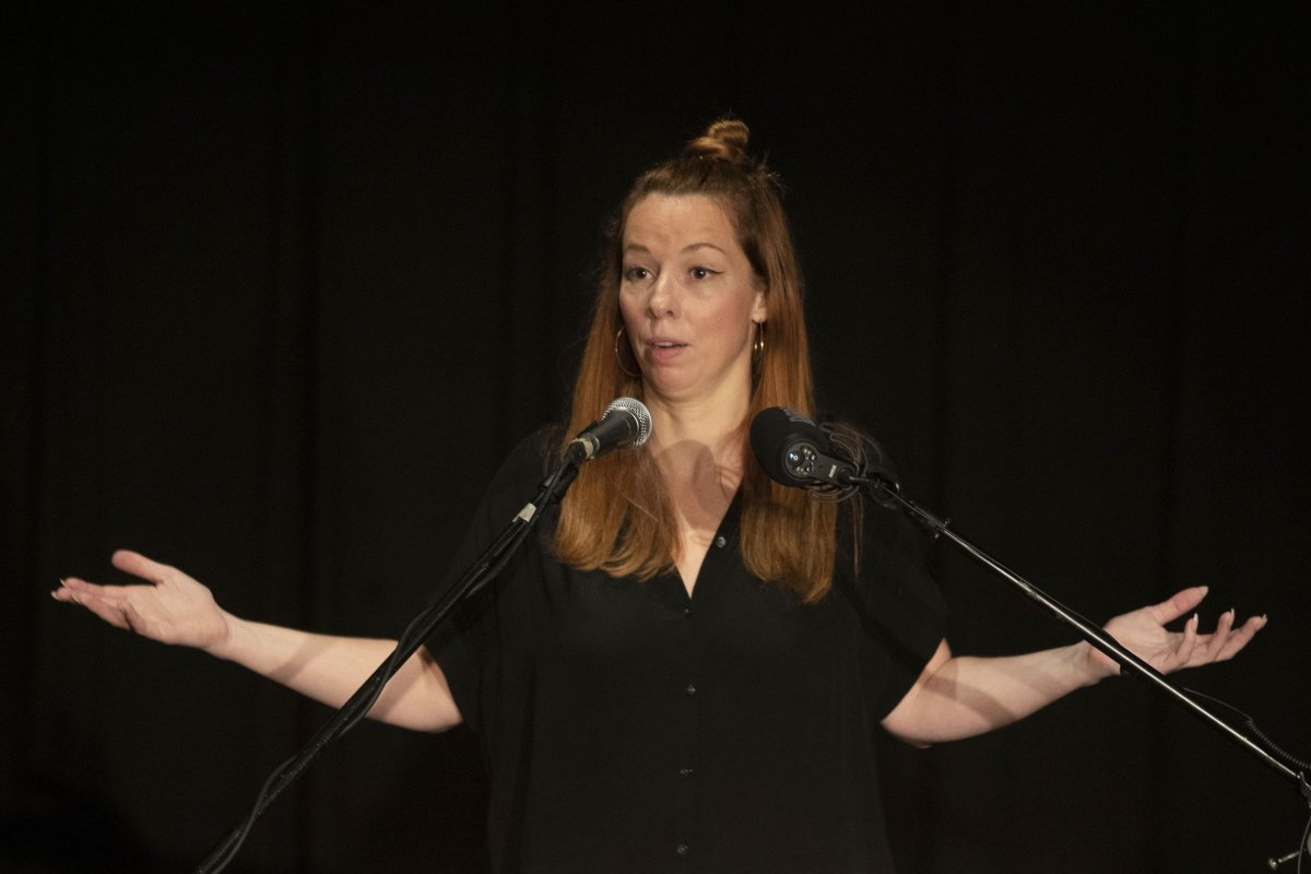 Writer Meghan Murphy speaks at an event in a Toronto Library on Tuesday October 29, 2019. The organizer of a panel discussion on gender and sexuality says the location of the event in Vancouver has been changed over possible security risks because of the views of a featured speaker who drew protests at a Toronto public library this week.