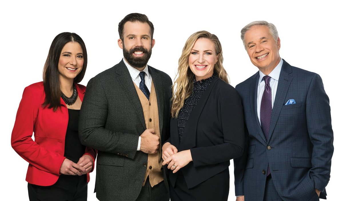Global News Morning Edmonton team: traffic reporter Daintre Christensen, anchors Kent Morrison and Erin Chalmers, and weather specialist Mike Sobel.