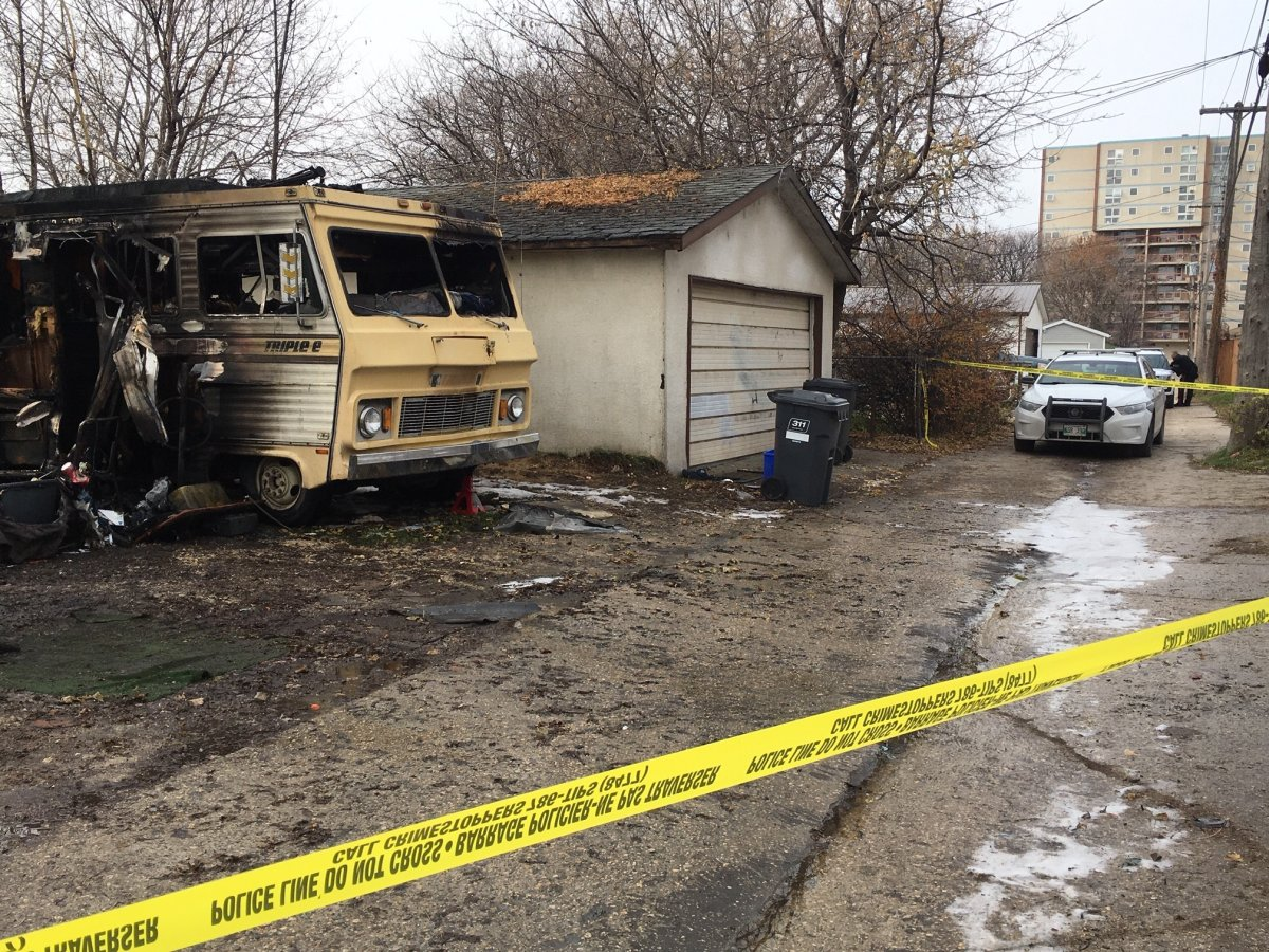 A gutted motor home at the scene of a propane tank explosion in Elmwood Sunday morning.