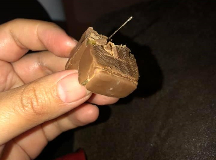A piece of Candy that was allegedly found with a needle in it following Halloween 2019 in Burns Lake.