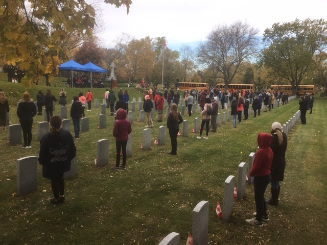 Poppies were laid on the gravestones of veterans buried at Woodland Cemetery.