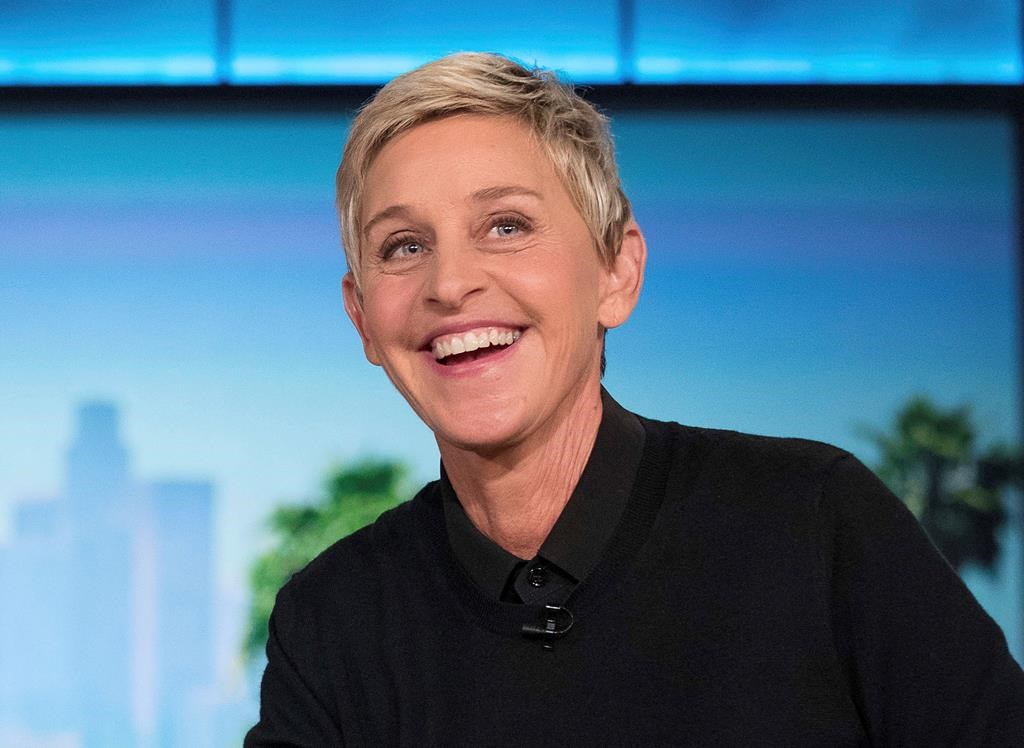 Ellen DeGeneres appears during a commercial break at a taping of 'The Ellen Show' in Burbank, Calif.