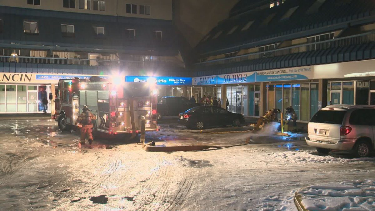 Fire crews responded after several vehicles caught fire in a south Edmonton parkade on Friday evening.