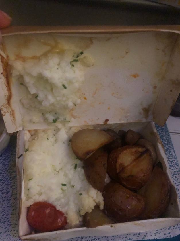 A photo of the meal James Boyle said he was served on a WestJet flight to the U.K. from Canada, despite requesting a diabetic-friendly meal.