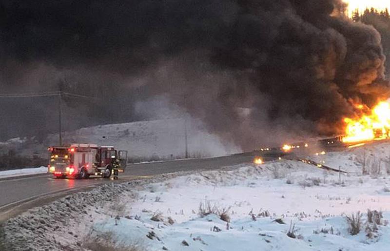 Firefighters on the scene of a tanker truck crash east of Dawson Creek, B.C., on Nov. 16, 2019.
