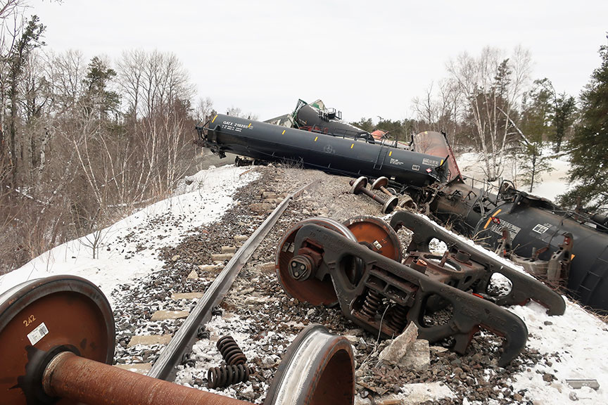 The Transportation Safety Board of Canada says a damaged wheel led to a train derailment near Rennie, Manitoba, in January, 2018.