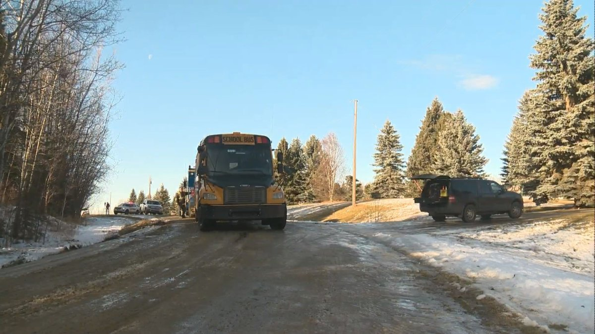 Stony Plain RCMP investigate a school bus rollover on Forest Drive near Highway 779. Monday, Nov. 18, 2019.
