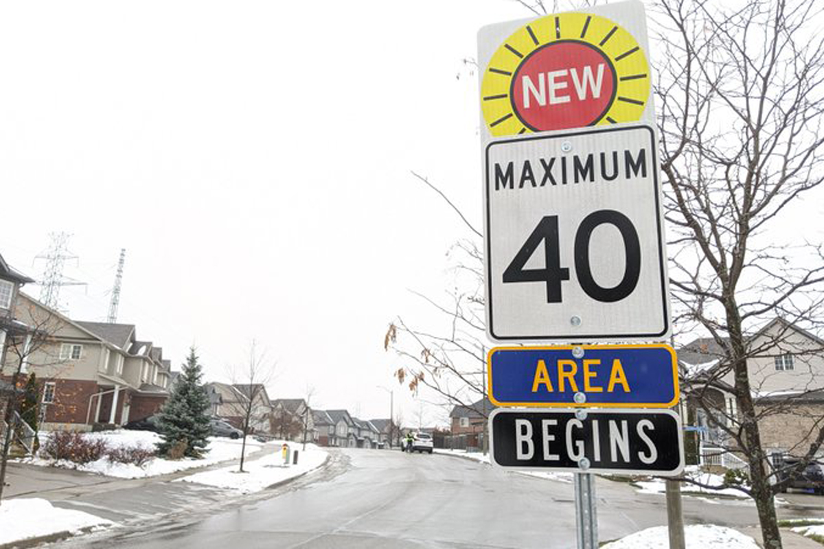 Signs with the new speed limit are being erected in areas where motorists will be entering into the new traffic-calming zones.