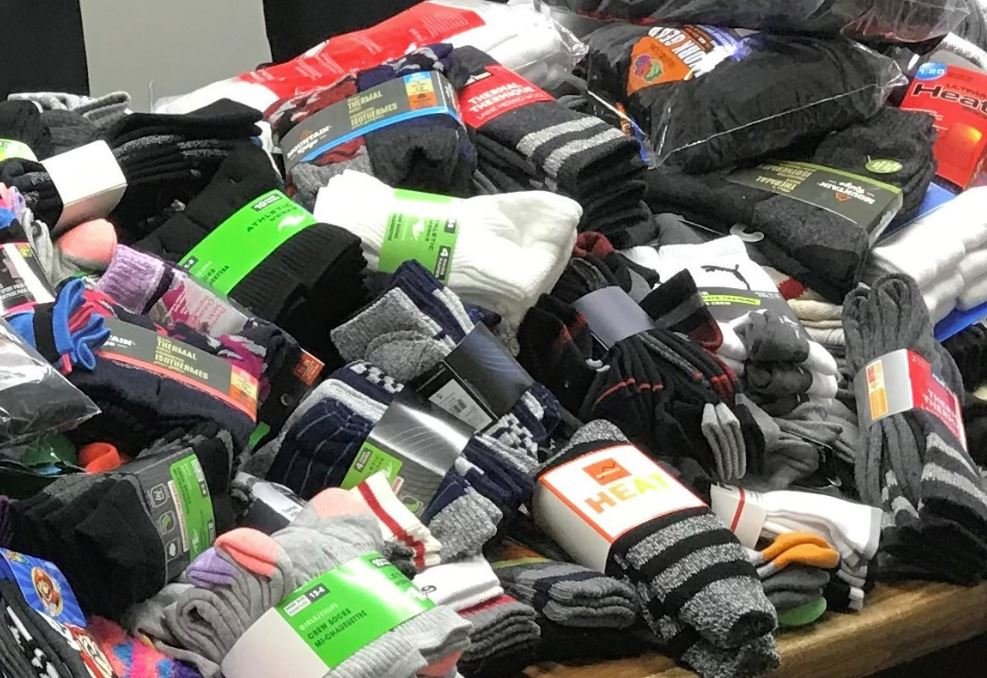 London police officers collected more than 1,800 pairs of socks over the last month.