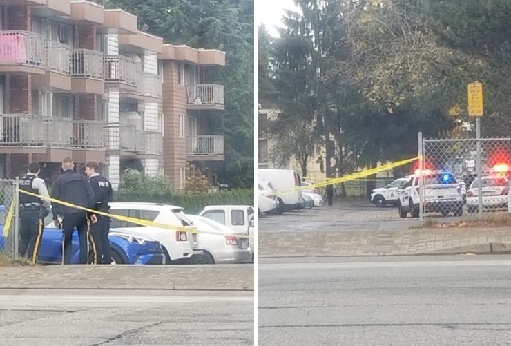 Surrey RCMP at the scene of a shooting in the Guildford area on Nov. 10, 2019.