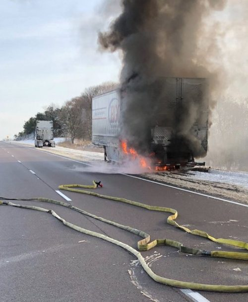 The eastbound lanes of Highway 401 between Trenton and Belleville are closed following a tractor trailer fire on Tuesday.