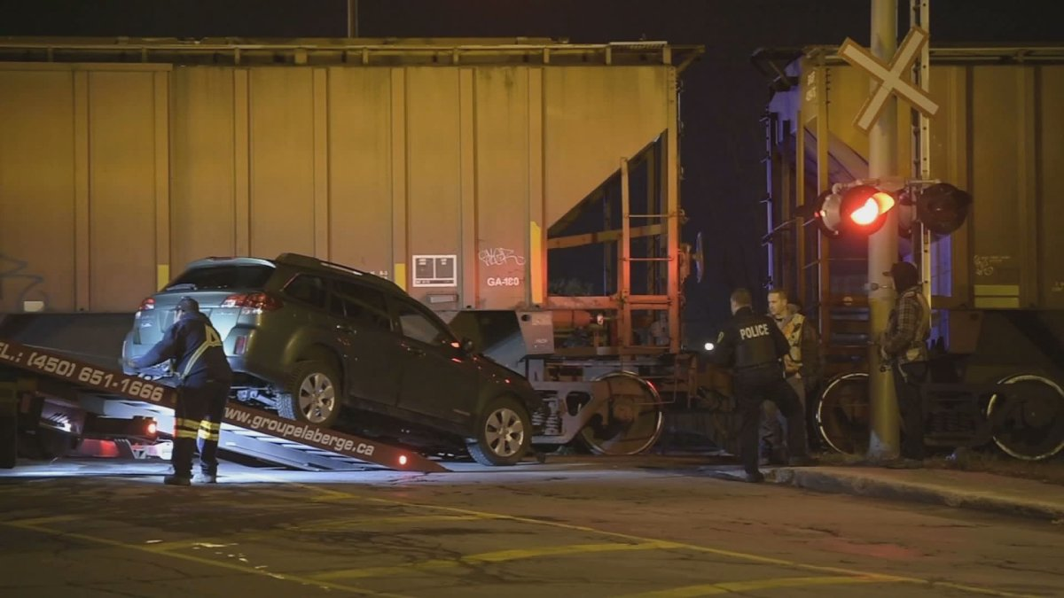 CN police are investigating following a collision involving a train and a vehicle in Longueuil on Thursday, Nov. 7, 2019.