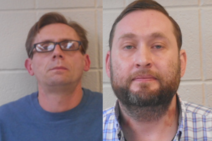 Henderson State University professors Terry David Bateman (left) and Bradley Allen Rowland (right). Both Bateman and Rowland have been arrested over allegations of manufacturing methamphetamine.