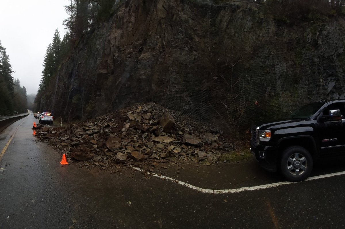 A view of a rockslide that has shut down Highway 1 near Goldstream Park on Vancouver Island on Nov. 17, 2019.