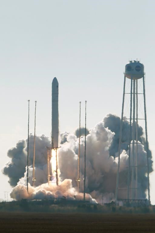 Northrop Grumman's Antares rocket lift off the launch pad at NASA Wallops Flight facility in Wallops Island, Va., Saturday, Nov. 2, 2019.