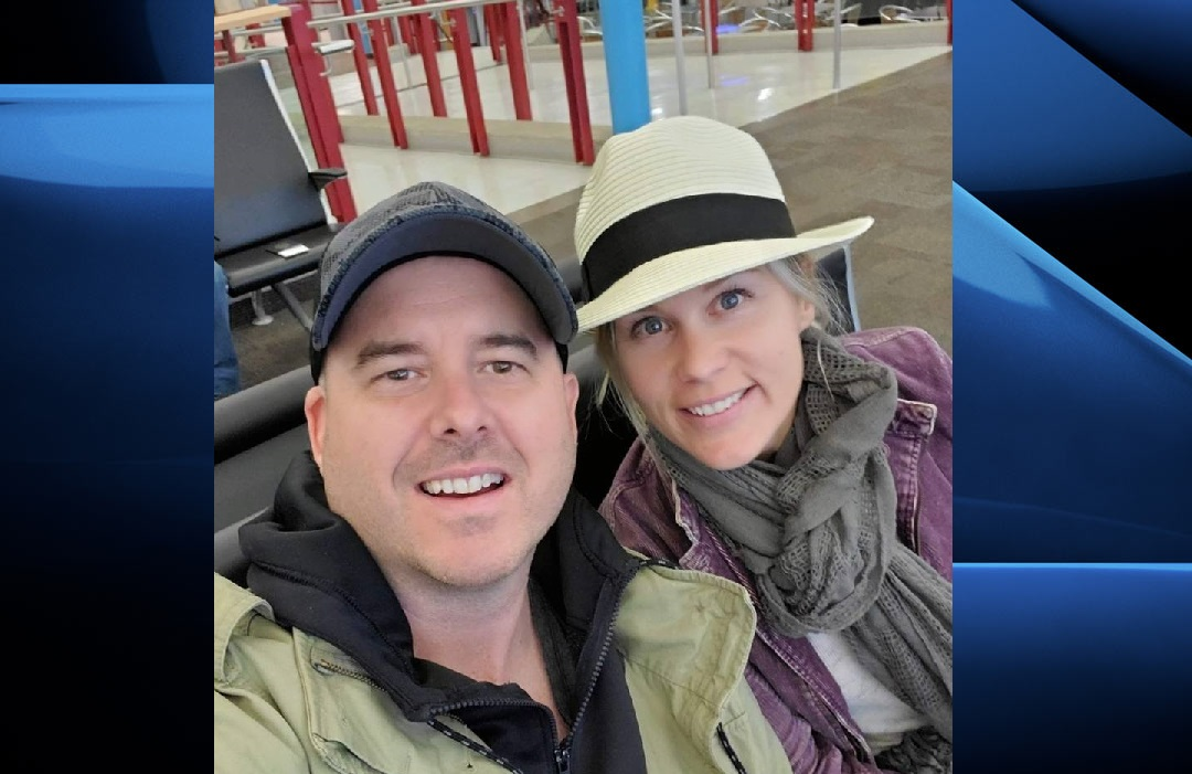 Christina and Phill Palmer at the London airport before their Las Vegas trip. Christina says the couple was stranded in Nevada after their Swoop airline flight home was cancelled.