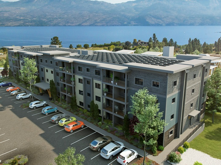 Ground was broken on Thursday for a new, four-storey apartment rental building in West Kelowna. Here, an artist's rendering shows what the building will look like.