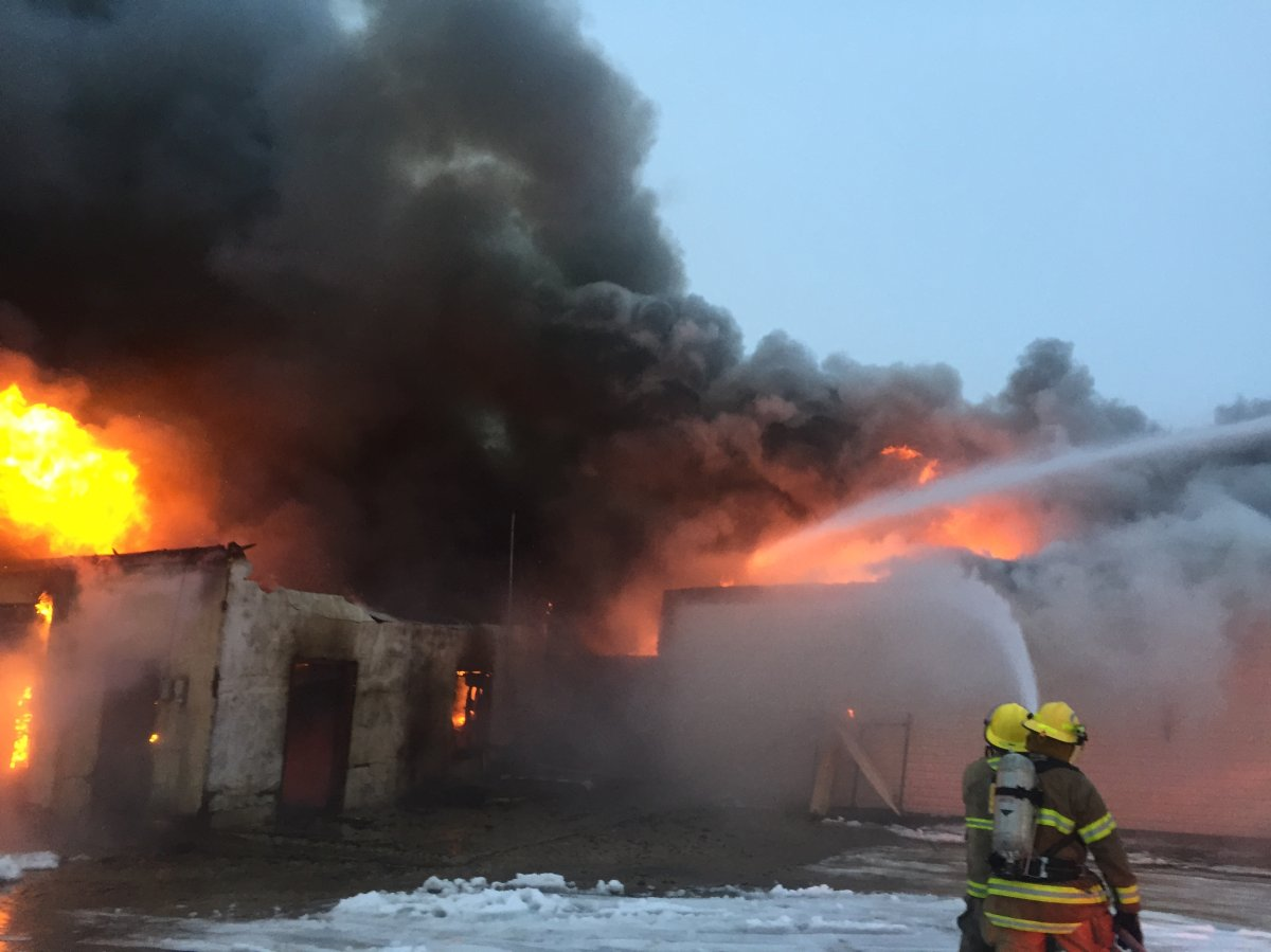 Fire crews responded after a fire at Westlock Home Furnishers in Westlock, Alta. on Nov. 15, 2019.
