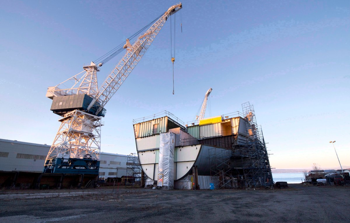 A Cecon ship which construction was halted sits on dry ground Monday, November 19, 2012 at the Davie shipyard in Levis, Que. THE CANADIAN PRESS/Jacques Boissinot.